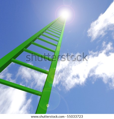 A green ladder reaching up to the sky.