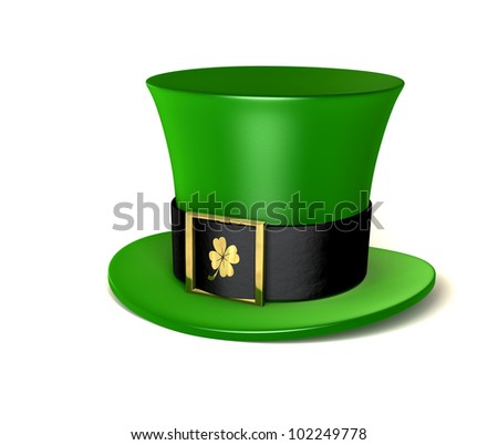 A green leprechaun hat emblazoned with a gold shamrock