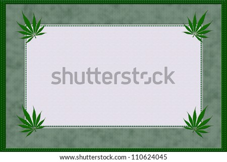 A green marijuana material frame with stitching edges and copy space for your text