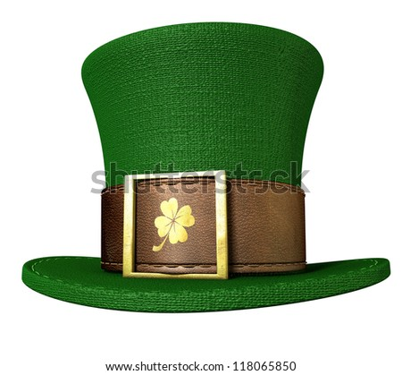 A green material leprechaun hat with a brown leather band emblazened with a gold shamrock and buckle on an isolated background