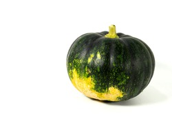 A green natural fresh Indian pumpkin is isolated on white background with blank text, To create a vitamin-rich vegetable recipe, green fruits and vegetables for healthy life, Cultivated vegetables
