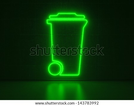 A green Neon Sign in Form of a Dustbin on a Wall of Concrete