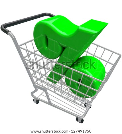 A green percent or percentage symbol in a shopping cart to represent comparison hunting for the best or lowest interest rate or inflation affecting prices for products you want to buy