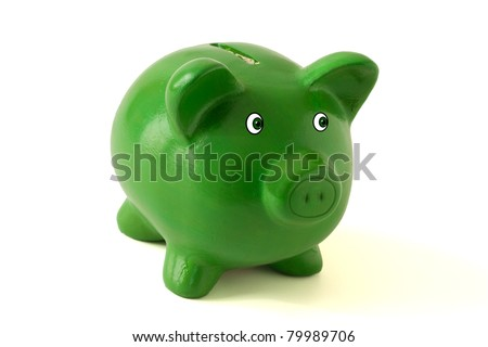 A green piggy bank on a white background, savings