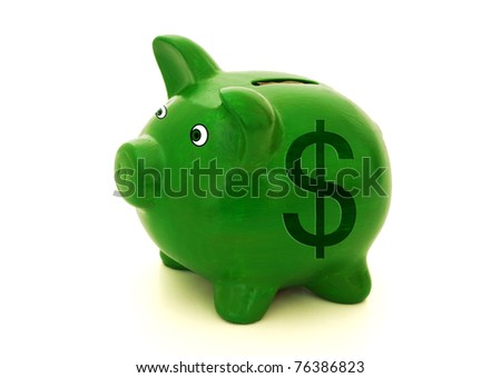 A green piggy bank with a dollar symbol on a white background, Saving money
