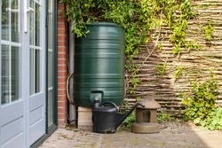 A green rain barrel to collect rainwater and reusing it to water the paints and flowers in a backyard with a wattle fence made of willow branches on a sunny day