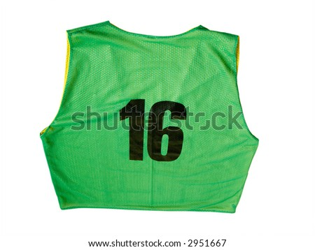 A green sports jersey isolated on a white background