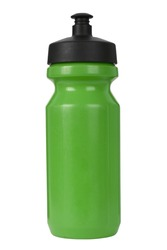 A green sports water bottle isolated on a white background