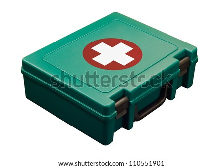 A green standard First aid kit, used to provide urgent emergency treatment at school, work or in the home. Isolated with clipping path