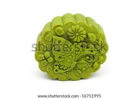 A green tea moon cake isolated on white background.