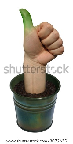 """A """"Green Thumb"""" growing out of a plant pot."""