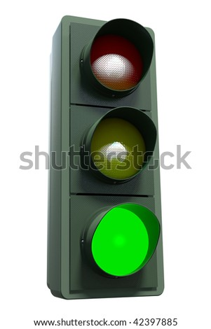 A green traffic light including clipping path