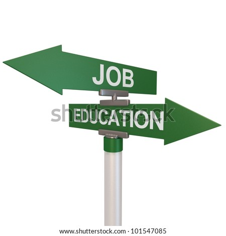 A green two-way street sign pointing to the words Job and Education.