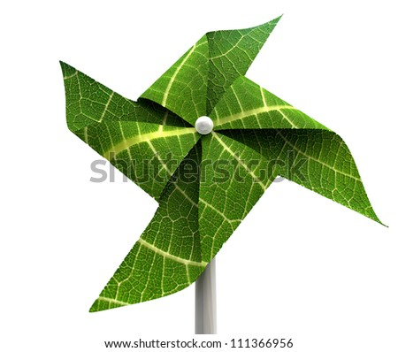 A green windmill made out of leaves isolated on a white background