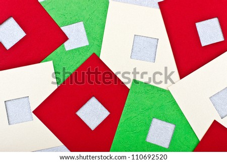 a greeting card with colored squares