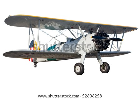 A grey bi plane isolated on white