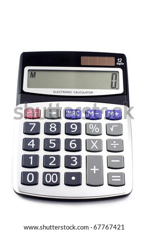 A grey calculator isolated on a white background