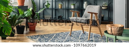 A grey chair standing on a patterned rug in front of black shelves and next to vases with plants in a botanic living room interior