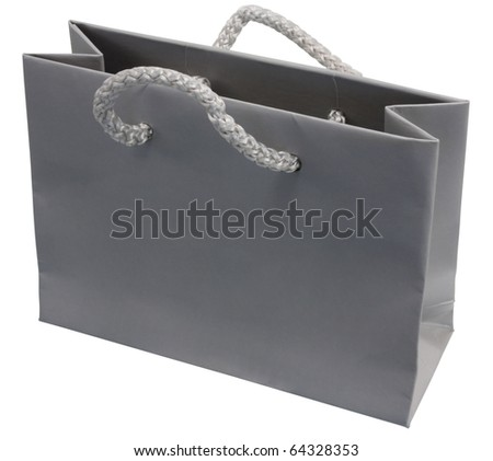 A Grey Gift Bag Or Shopping Bag, Isolated On White With Clipping ...
