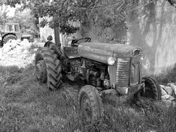 A greyscale shot of an old tractor in a rural area