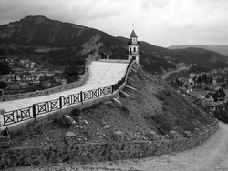 A greyscale shot of the Victory Tower in Goynuk, Turkey captured on a cloudy day