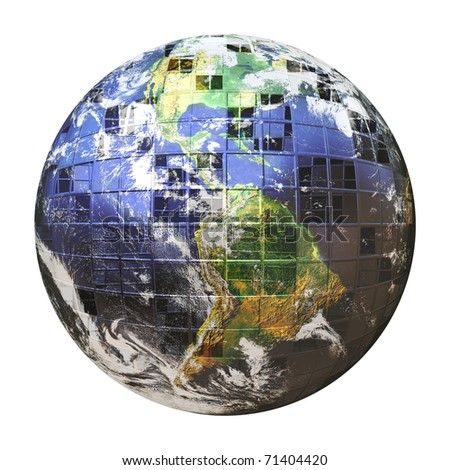 A gridded 3D illustration of the earth covered in square shapes over its frame isolated over white. The square spaces make nice areas for other images.