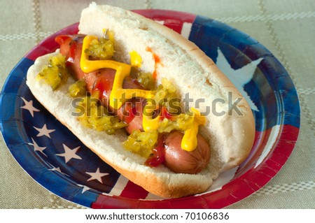 A grilled hot dog on a flag plate with mustard, ketchup, and relish