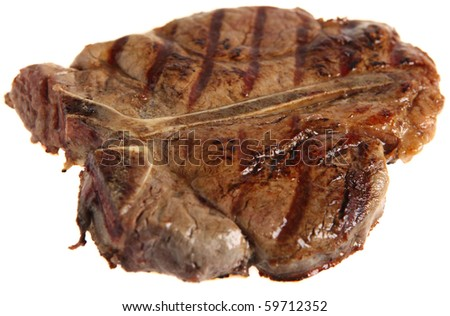 A grilled Porterhouse or T-Bone steak, viewed from a 45 degree angle, isolated on white.
