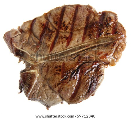 A grilled T-bone or porterhouse steak isolated on white, viewed directly from above.