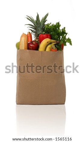 stock photo : A grocery bag full of groceries