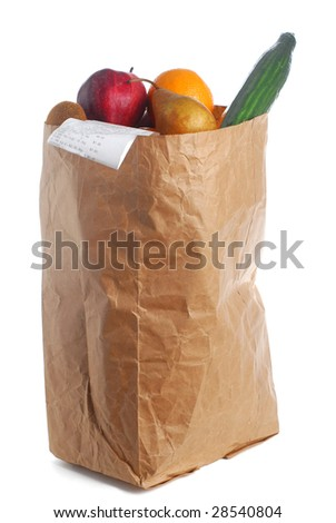 A grocery bag full of groceries with bill hanging out