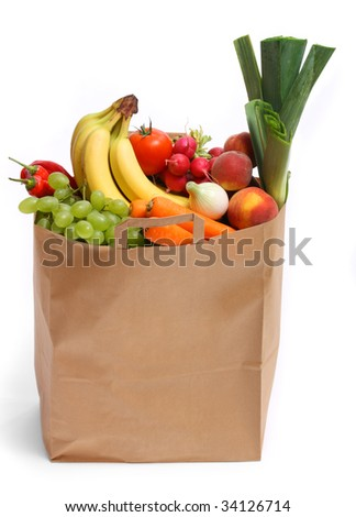 A grocery bag full of healthy fruits and vegetables