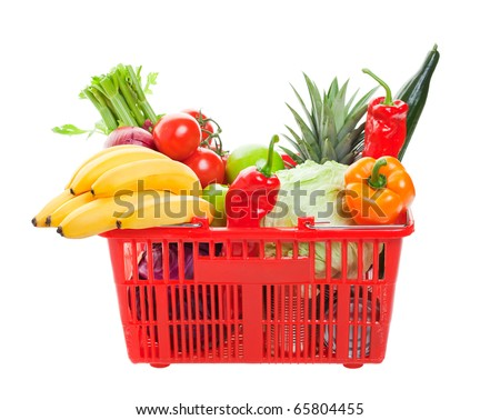 A grocery basket filled with fresh fruits, vegetables, and canned goods.  Shot on white background.