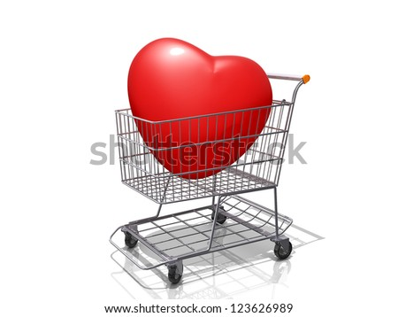 A Grocery shopping cart with a Heart on a white background.