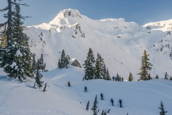 A group back country skiing in the Cascades