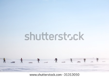 A group of adventurers on a arctic expedition