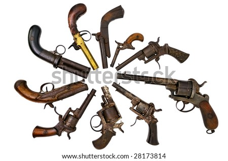 A group of ancient pistols #28173814