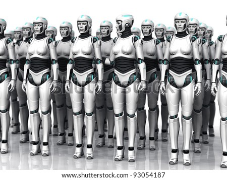 A group of android woman standing in rows, eyes closed. One of the androids have woken up.