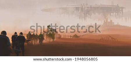 A group of armed forces walking in the desert. In the distance is a huge alien mothership floating in the air. 3D illustration,digital paintings.