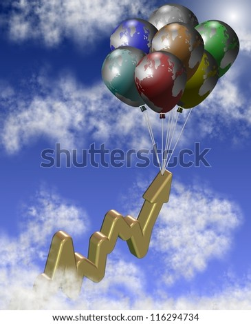A group of balloons lifting chart arrow up in the sky / Golden chart