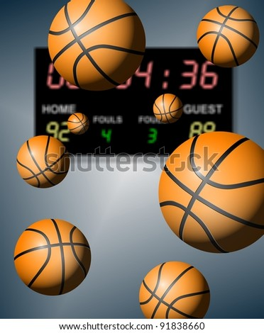 A group of basketballs suspended in the air with a digital board in the background / Basketball score