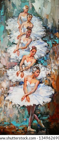 A group of  beautiful ballerinas, in white ballet tutus, are dancing on stage under the lights. Palette knife technique of oil painting and brush, looks very expressive.