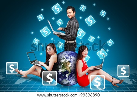 A group of business team and Money icon around : Elements of this image furnished by NASA