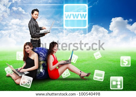 A group of business team and world wide web icons : Elements of this image furnished by NASA