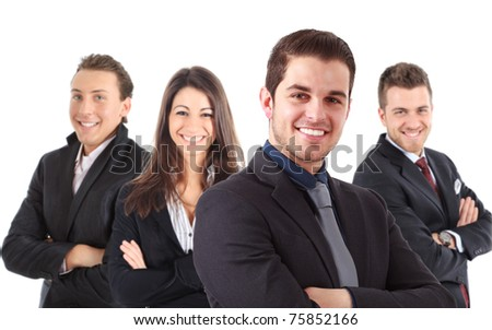 A group of businesspeople, their leader is on the front. Isolated on white.