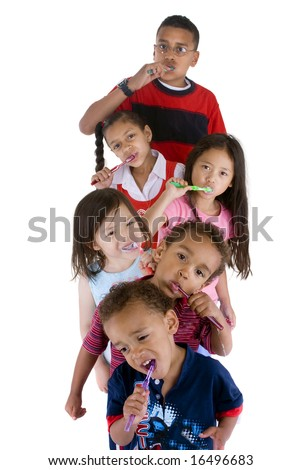 A group of children brushing thier teeth.