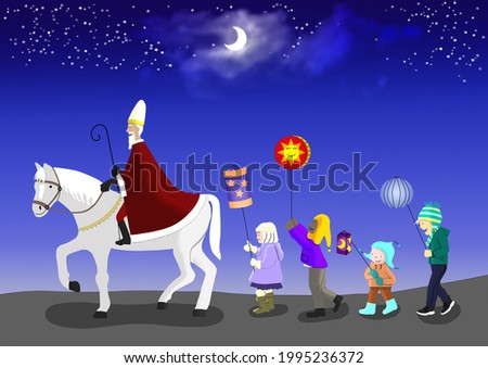 A group of children makes a torchlight procession to the Saint Martin's feast. A rider with a big coat rides ahead. Drawing with light and shadow. Photo stock ©