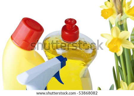 A group of cleaning products next to some daffodils to signify Spring cleaning.  Isolated against white background.