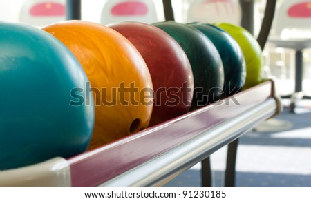 A group of colored bowling balls