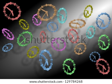 A group of colorful 3D clocks flying through the air / Time flying